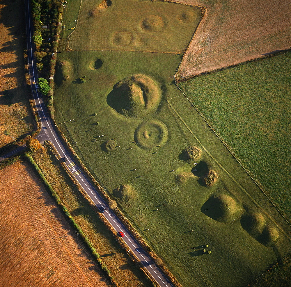Aerial image of Winterbourne Poor Lot Round Barrows, Winterbourne Abbas, Dorset, England, United Kingdom, Europe
