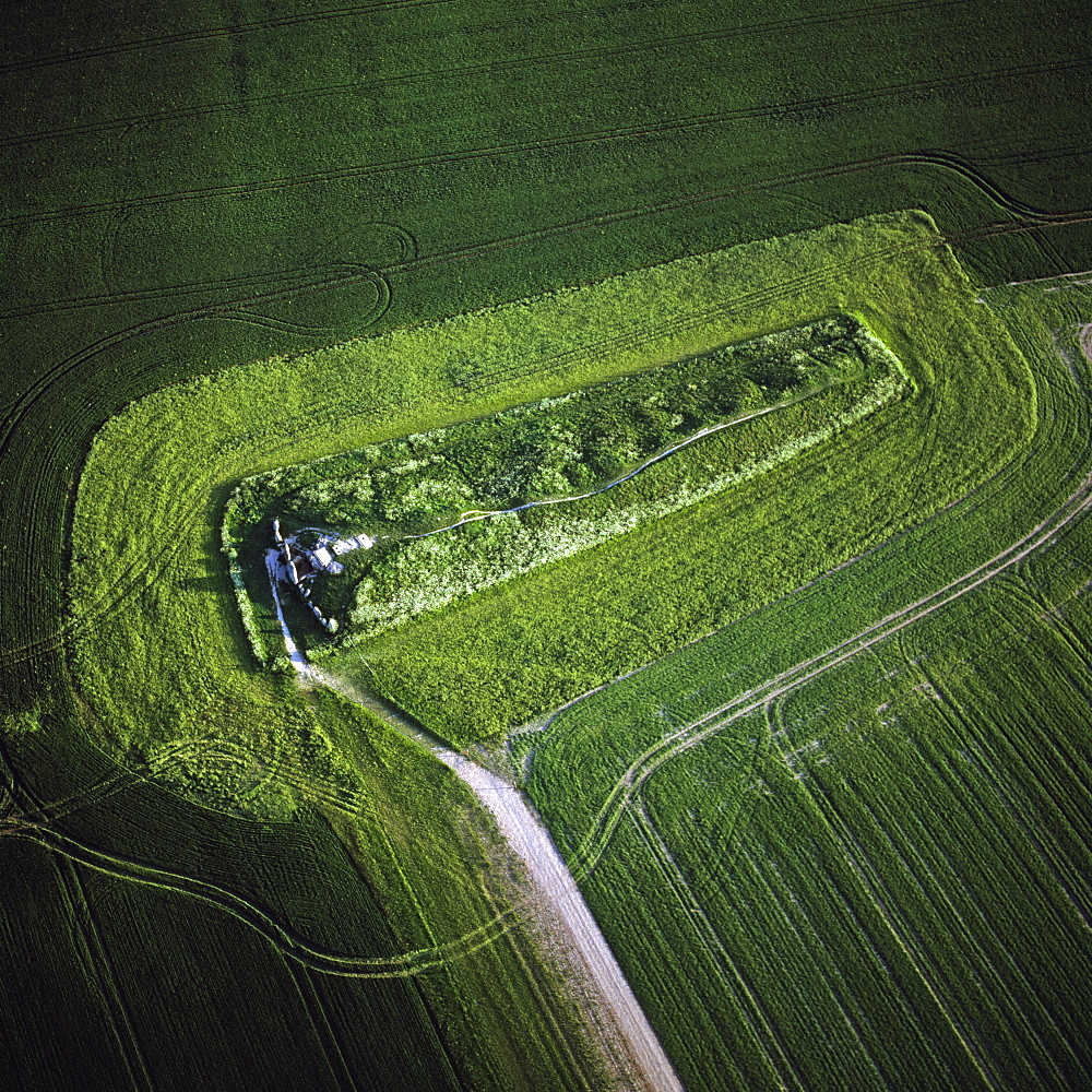 Aerial image of West Kennet Long Barrow, a Neolithic tomb or barrow, on a prominent chalk ridge, near Silbury Hill, Avebury, Wiltshire, England, United Kingdom, Europe