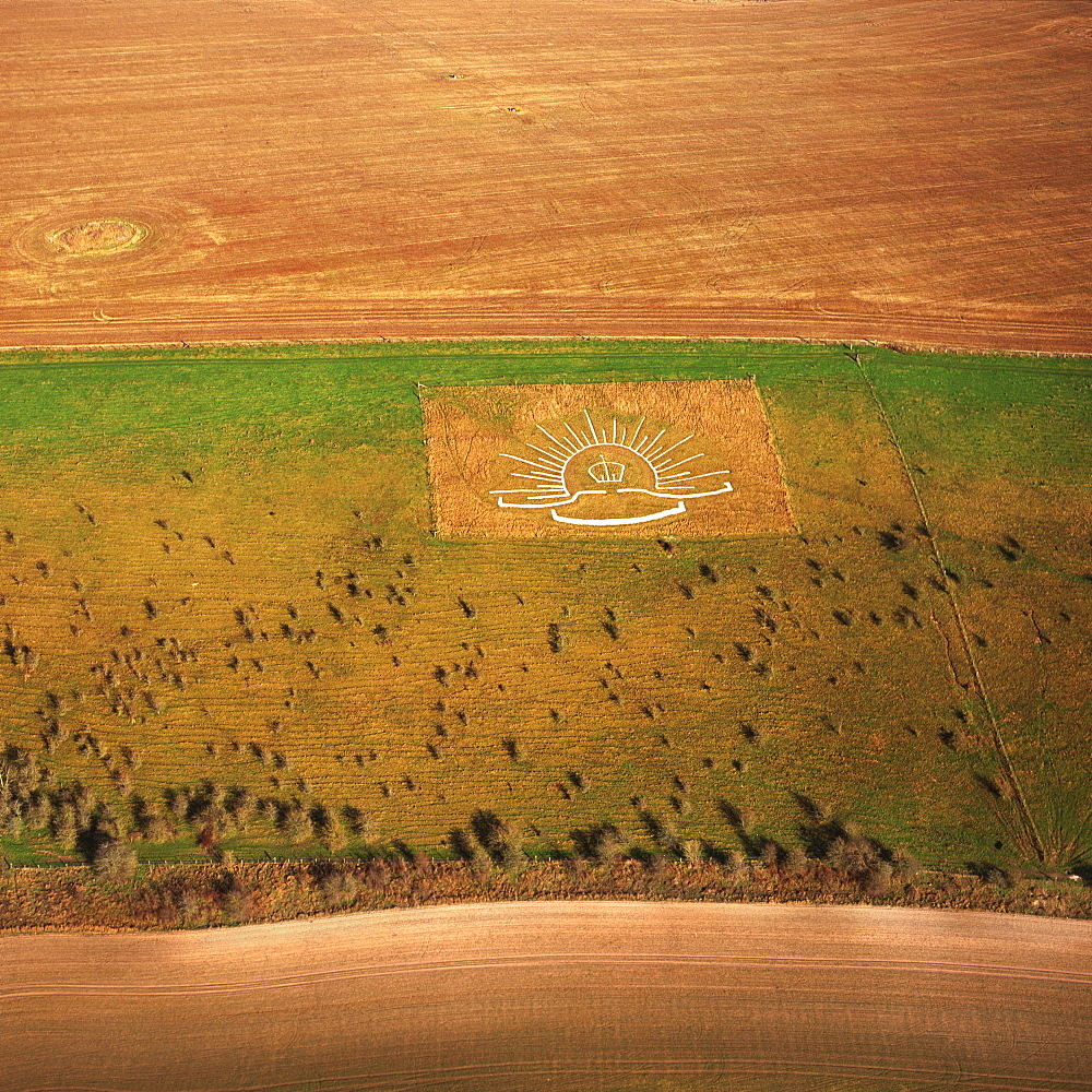 Aerial image of Lamb Down Military Badge, the badge of the Australian Commonwealth Military Forces, cut on a steep slope by the A36, Lamb Down, Wiltshire, England, United Kingdom, Europe