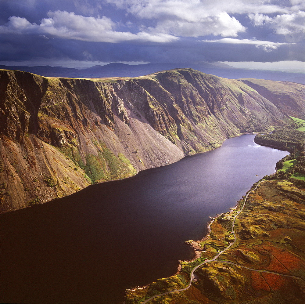 Aerial image of Wastwater Screes and Wast Water (Wastwater), the deepest lake in England, a good example of a glacially over-deepened valley, Wasdale Valley, Lake District National Park, Cumbria, England, United Kingdom, Europe