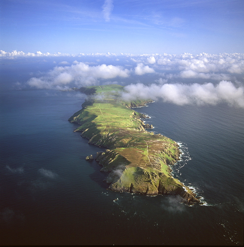 Aerial image of Lundy Island looking from north to south, Bristol Channel, Devon, England, United Kingdom, Europe