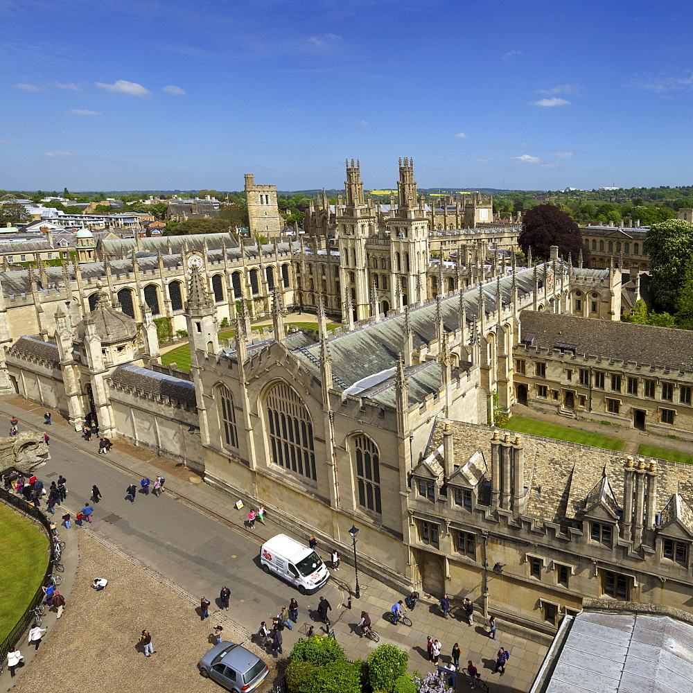 View of All Souls College from tower of University Church of St. Mary The Virgin, University of Oxford, Oxfordshire,  England, United Kingdom, Europe