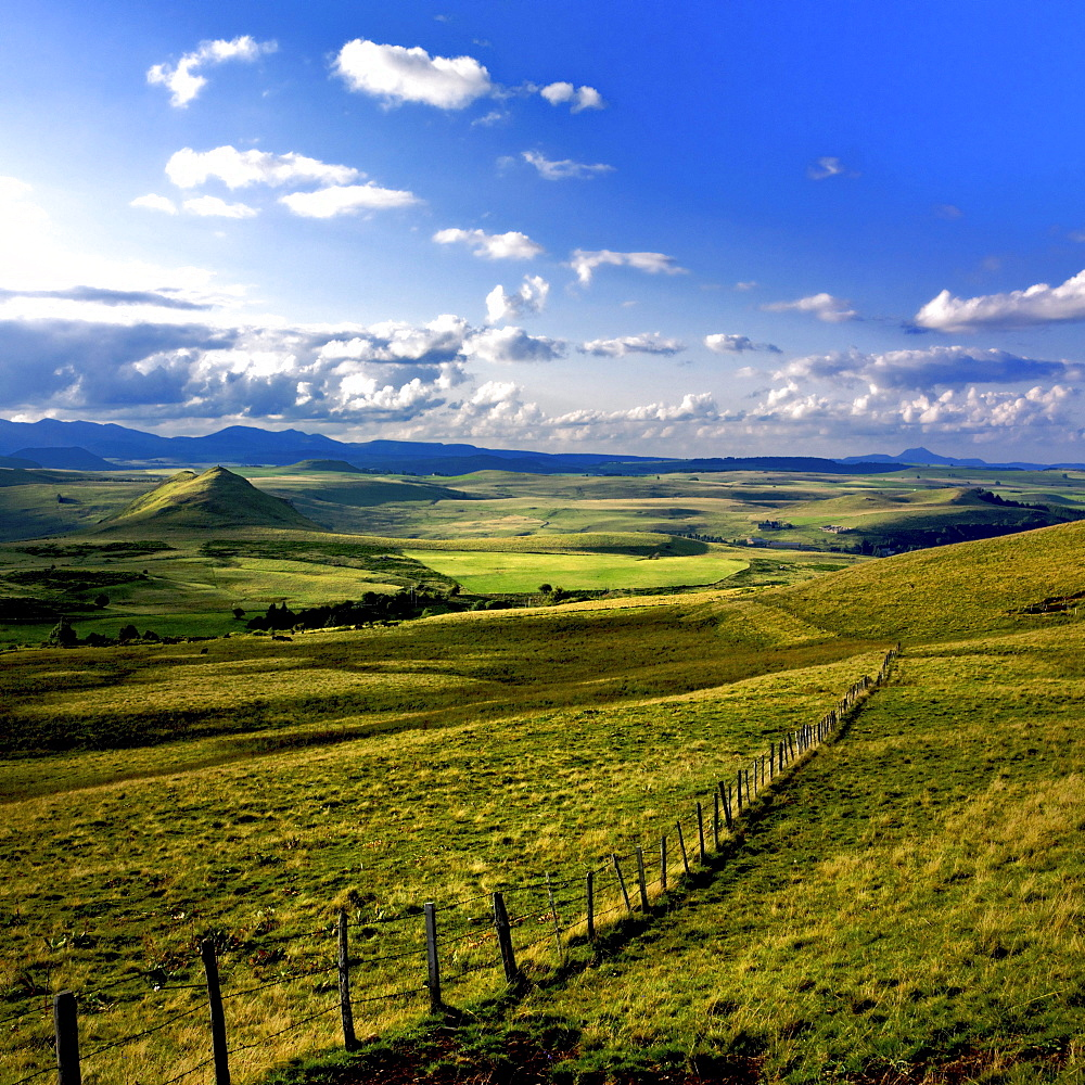 Rolling hills in Cezallier, Auvergne, France, Europe