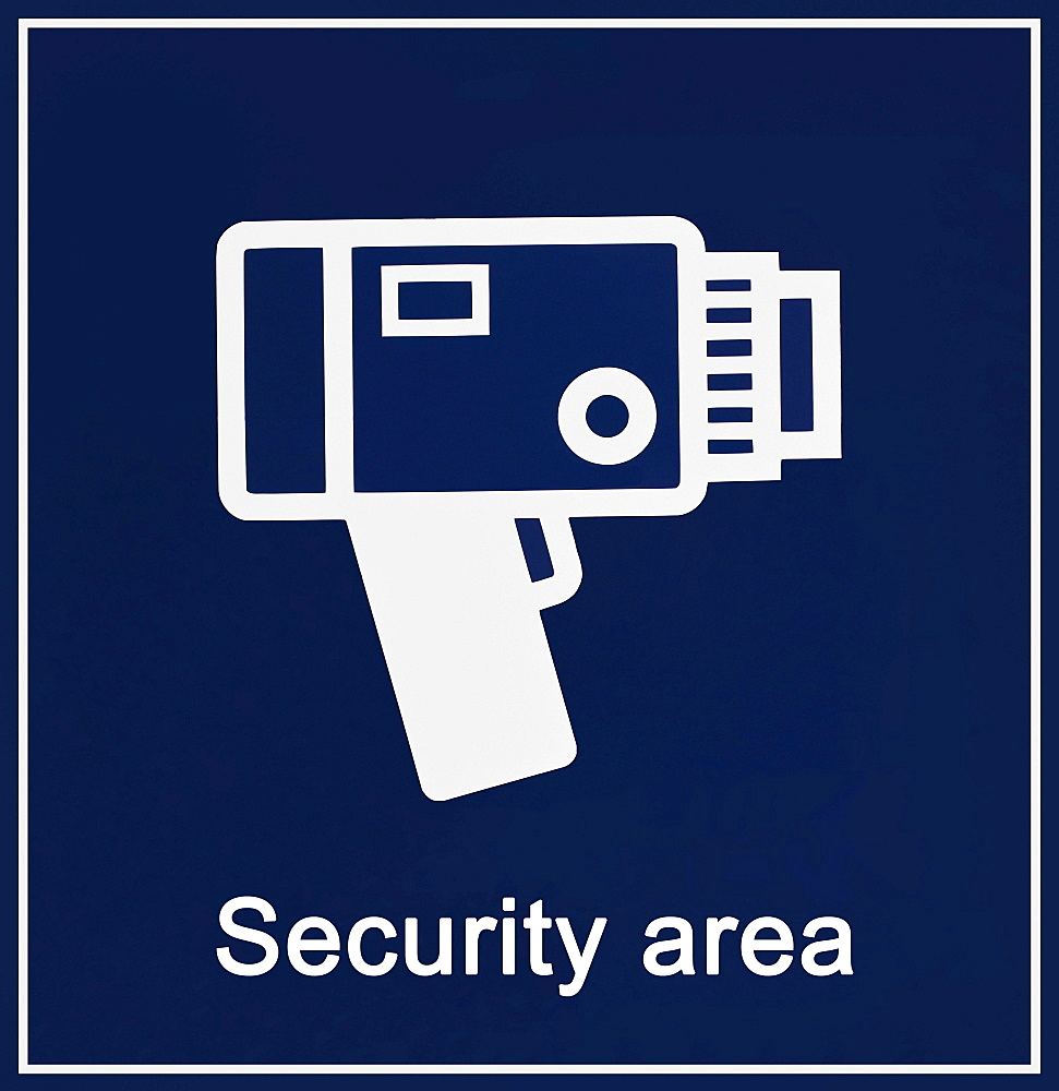 Information sign, security area, with camera icon, camera surveillance