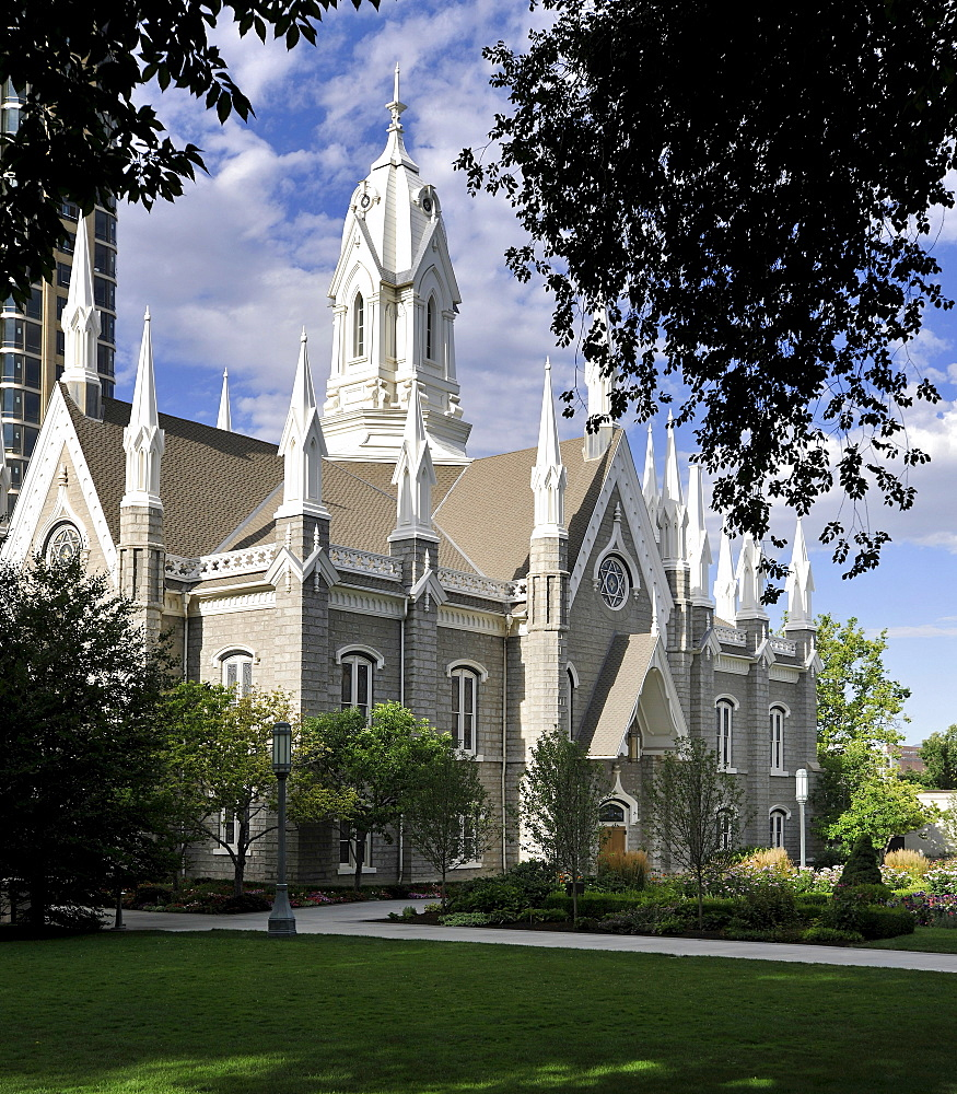 Assembly Hall, Funeral Chapel, Temple of The Church of Jesus Christ of Latter-day Saints, Church of Mormons, Temple Square, Salt Lake City, Utah, United States of America, America