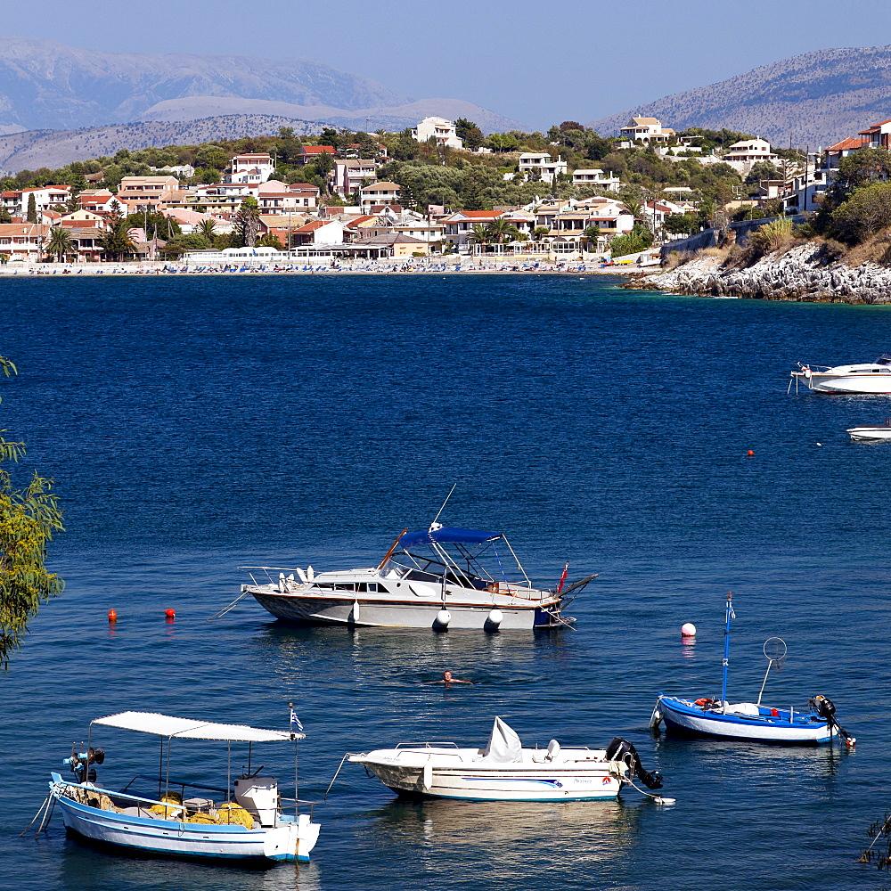 View towards Kassiopi, north east Corfu, Corfu Island, Ionian Islands, Greece, Southern Europe, Europe