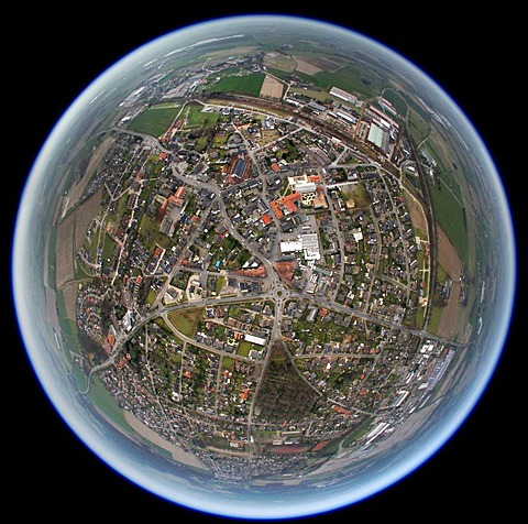 Aerial photo, fisheye, Hamminkeln, Lower Rhine, North Rhine-Westphalia, Germany, Europe