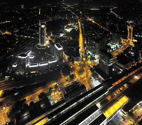 Aerial photo, RWE Tower Evonik, Essen, Ruhrgebiet area, Extraschicht 2009 cultural festival, night flight, North Rhine-Westphalia, Germany, Europe