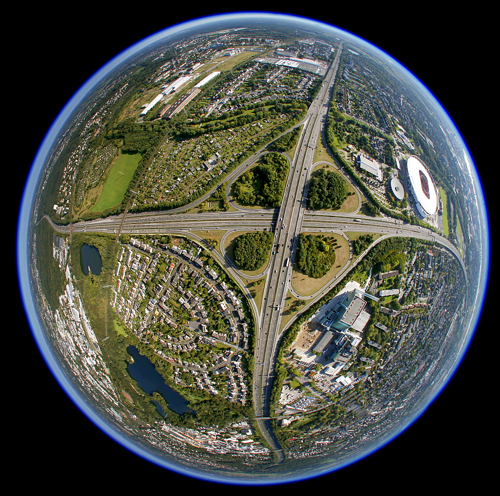 Aerial photo, Leverkusener Kreuz intersection, intersection A1 A3 motorways, fisheye, Leverkusen, North Rhine-Westphalia, Germany, Europe