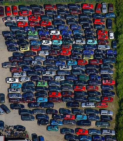 Aerial photo, scrapyard, used cars, scrapping, Froendenberg, Ruhrgebiet area, North Rhine-Westphalia, Germany, Europe