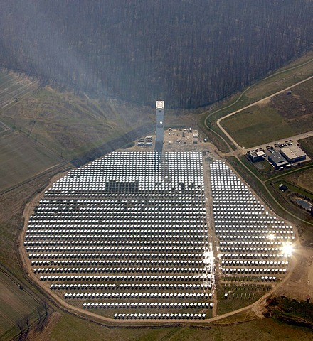 Aerial photo, solar power plant with power tower, Juelich, Rhineland, North Rhine-Westphalia, Germany, Europe