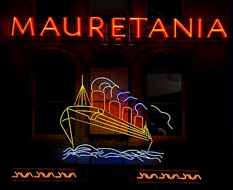 Mauretania, neon sign, pub, ship, Bristol, England, Great Britain, Europe
