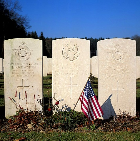 Graves of Second World War American soldiers at the military cemetery Duernbach, Upper Bavaria, Germany, Europe