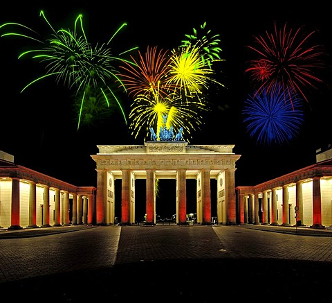 Fireworks above Brandenburg Gate, Berlin, Germany, Europe