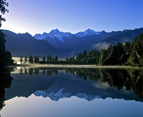 Matheson Lake with Aoraki or Mount Cook reflected on surface, Southern Alps, South Island, New Zealand