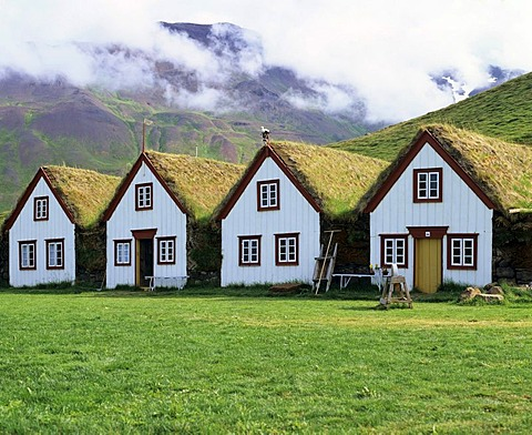 Sod houses, turf houses, museum, Laufas, Iceland