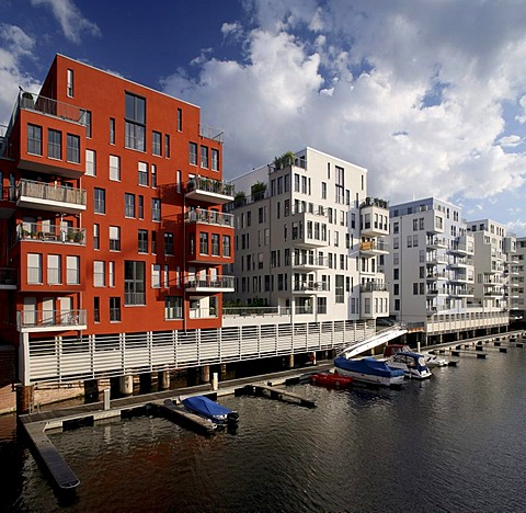 Residential buildings with luxury apartments at Westhafen, Frankfurt am Main, Hesse, Germany, Europe