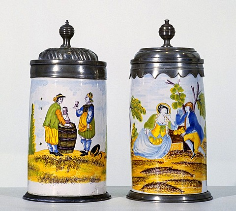 Franconian Museum Feuchtwangen Middle Franconian Bavaria Germany collection of faiences croks of Crailsheim with two carousers and lovers from 1801