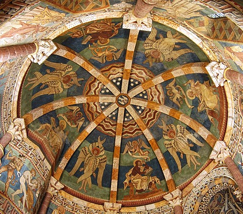 Cupola with gotic frescos in the charnel house in Hartberg Styria Austria