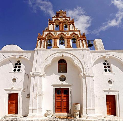 Church with a clock tower, Emborio, Santorini, Greece
