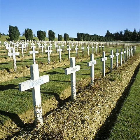 Soldiers' cemetery and war memorial, Verdun, Departement Meuse, France