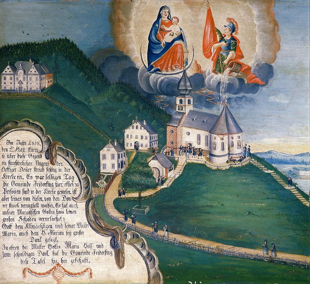 Votive image of 1818 from the Friedolfing Parish which was surprised by a thunderstorm in Maria Eck, Maria Geburt Pilgrimage Church, Maria Eck near Siegsdorf village, Chiemgau, Upper Bavaria, Germany, Europe