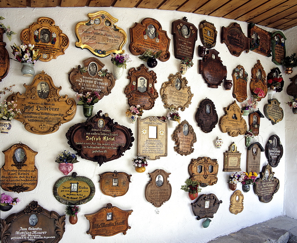 Soldiers' memorial plaques in the entryway of St. Anton's Pilgrimage Church in Garmisch-Partenkirchen, Upper Bavaria, Bavaria, Germany, Europe