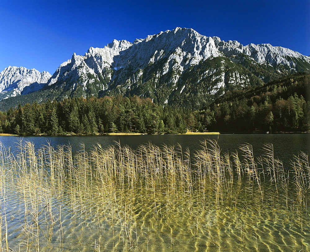 Lake Lautersee, Karwendel Range, Mittenwald Forest, Upper Bavaria, Bavaria, Germany, Europe