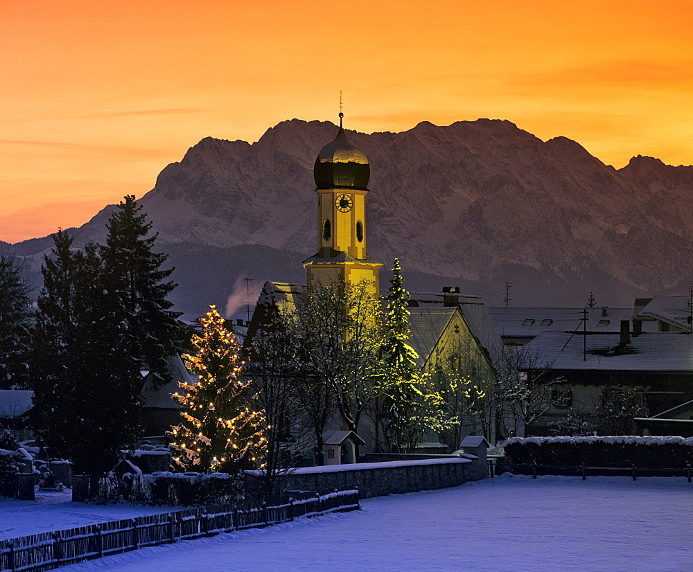 Church and Christmas tree, Wetterstein Range, Upper Bavaria, Bavaria, Germany, Europe