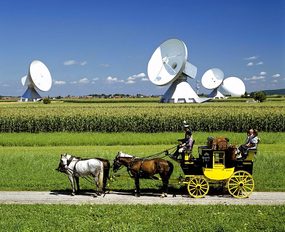 Antennas of the Satellite Earth Station Raisting, historical stagecoach, radome, Upper Bavaria, Bavaria, Germany