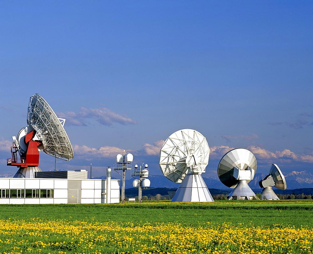 Inmarsat antennas of the Satellite Earth Station Raisting, Upper Bavaria, Bavaria, Germany