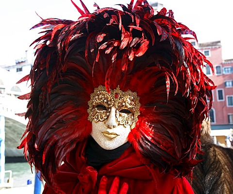 Mask with red plumes at the carnival in Venice, Italy