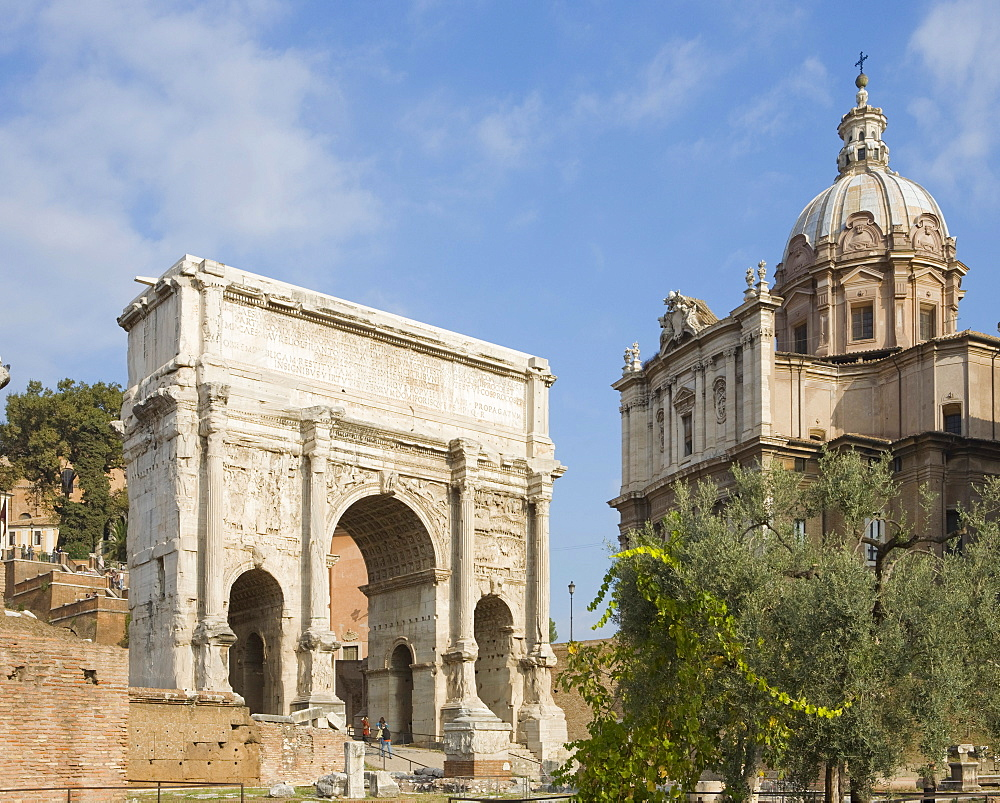 Arch of Septimius Severus and ss Luca e Martina Church, Forum Romanum, Rome, Italy, Europe