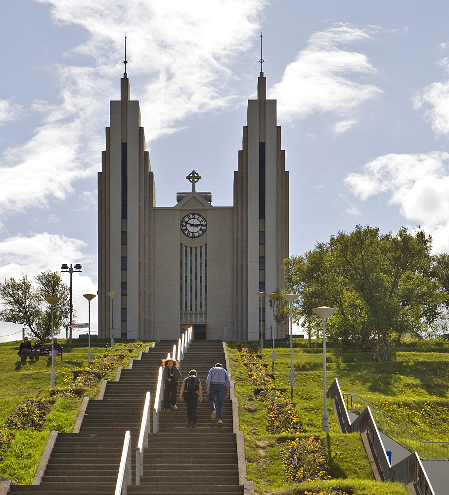 Ice Cathedral, built in 1940 and designed by Icelandic architect Gujon Samuelsson, Akureyri, northern Iceland, Iceland, Atlantic Ocean
