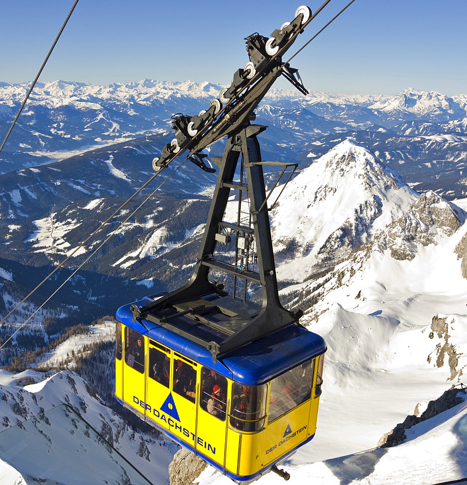 Gondola lift with Mt. Scheiblingstein in the background, Dachstein Massif, Styria, Austria, Europe