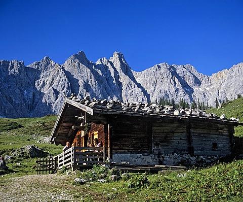 Alpine hut, Ladizalm, water Bockkarspitze and Northern Sonnenspitze, Karwendel, Tyrol, Austria