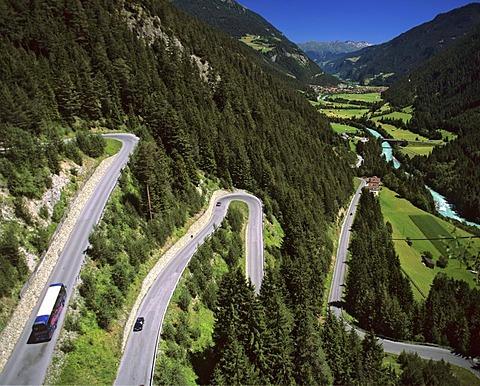 Samnauner mountain road, Pfunds, Inn, Oberinntal, Tyrol, Austria