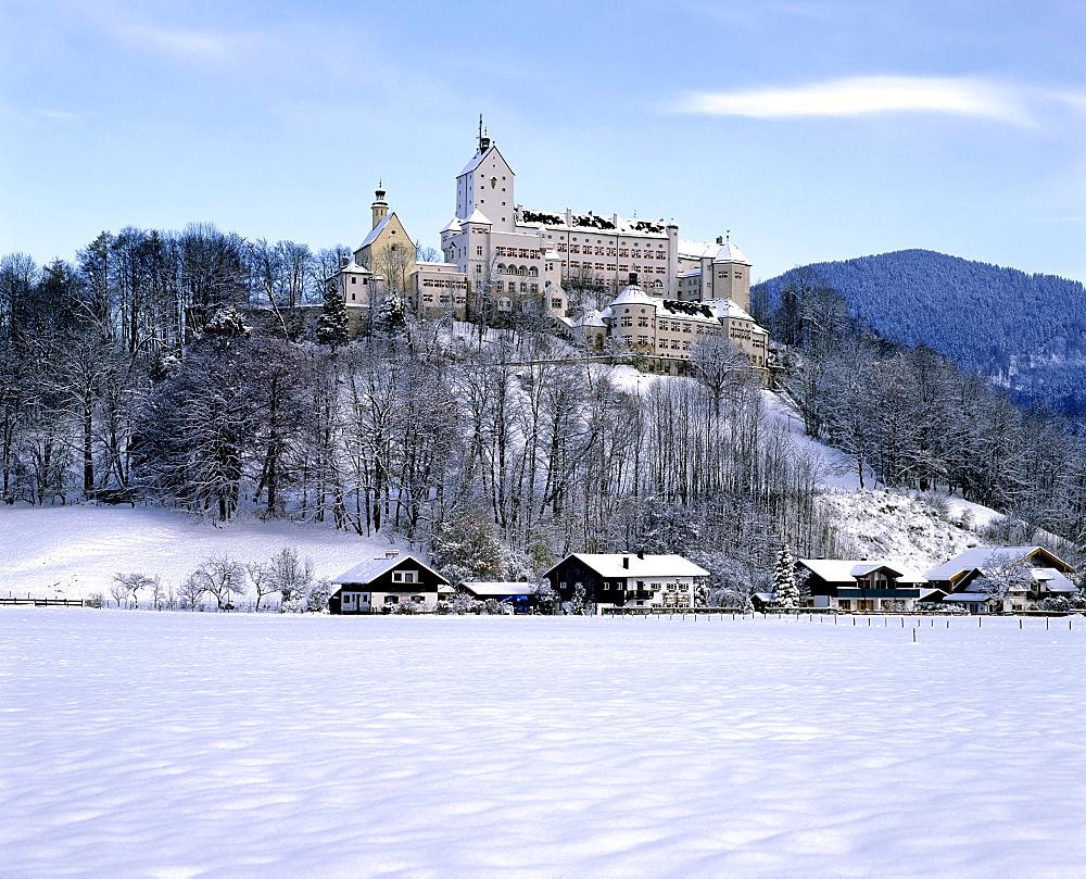 Hohenaschau castle in winter, Aschau, Chiemgau, Upper Bavaria, Germany