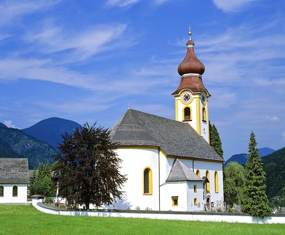 Church at Unken, Pinzgau region, Salzburger Land, Austria, Europe