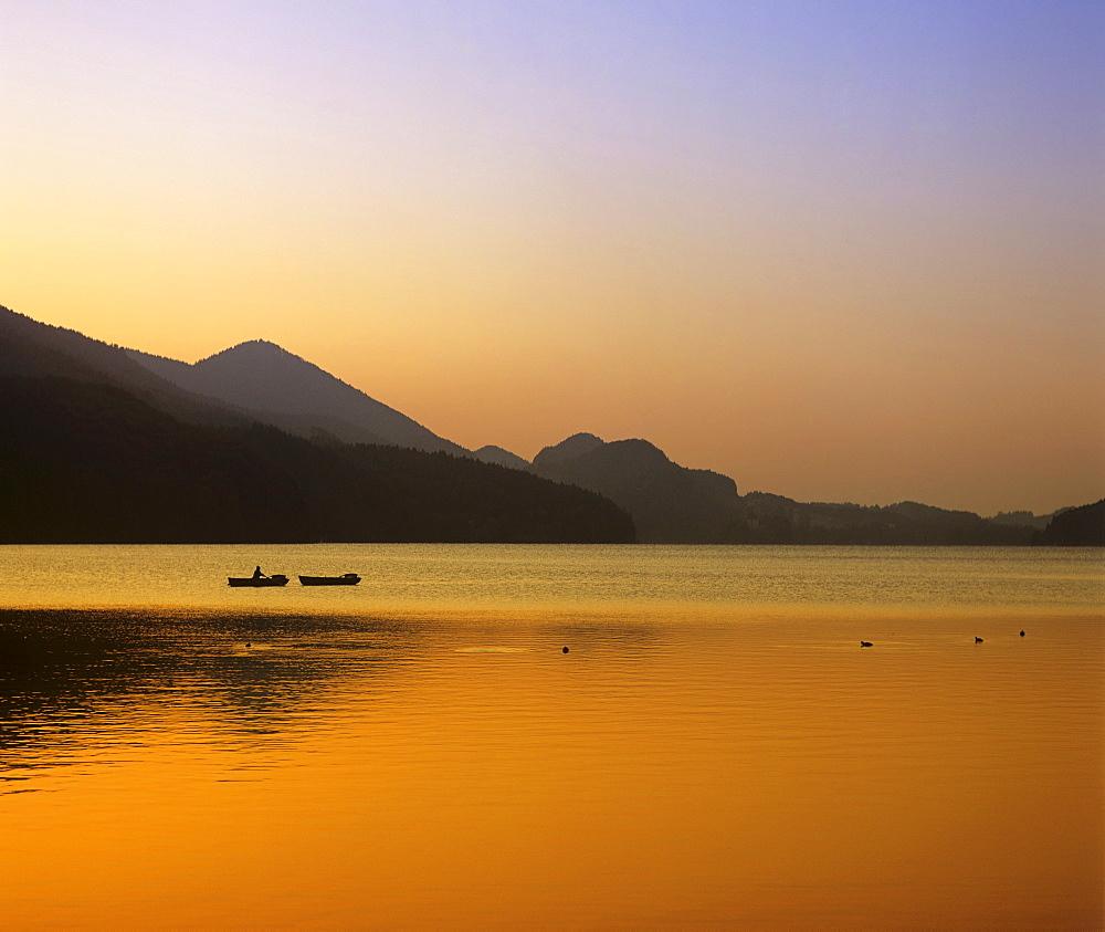 Fishing boats on the Fuschlsee (Lake Fuschl), evening mood, Salzkammergut region, Salzburger Land, Austria, Europe