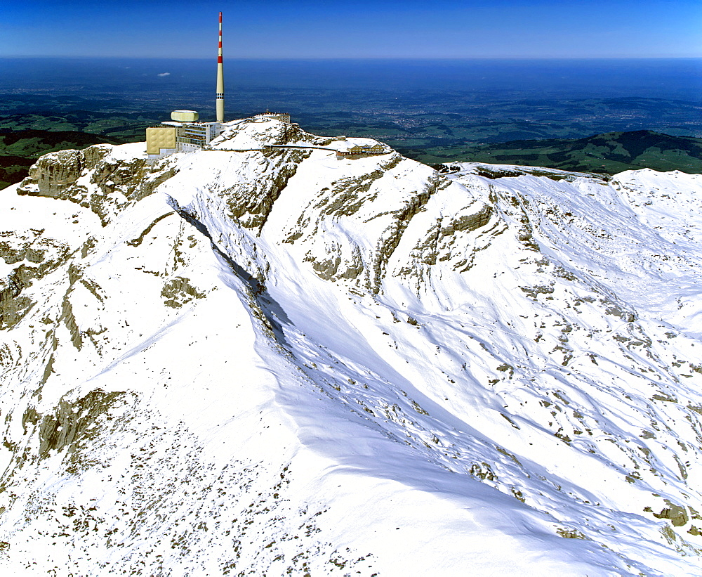 Aerial shot, Saentis, radio tower, Appenzeller Alps, Appenzell, Switzerland, Europe