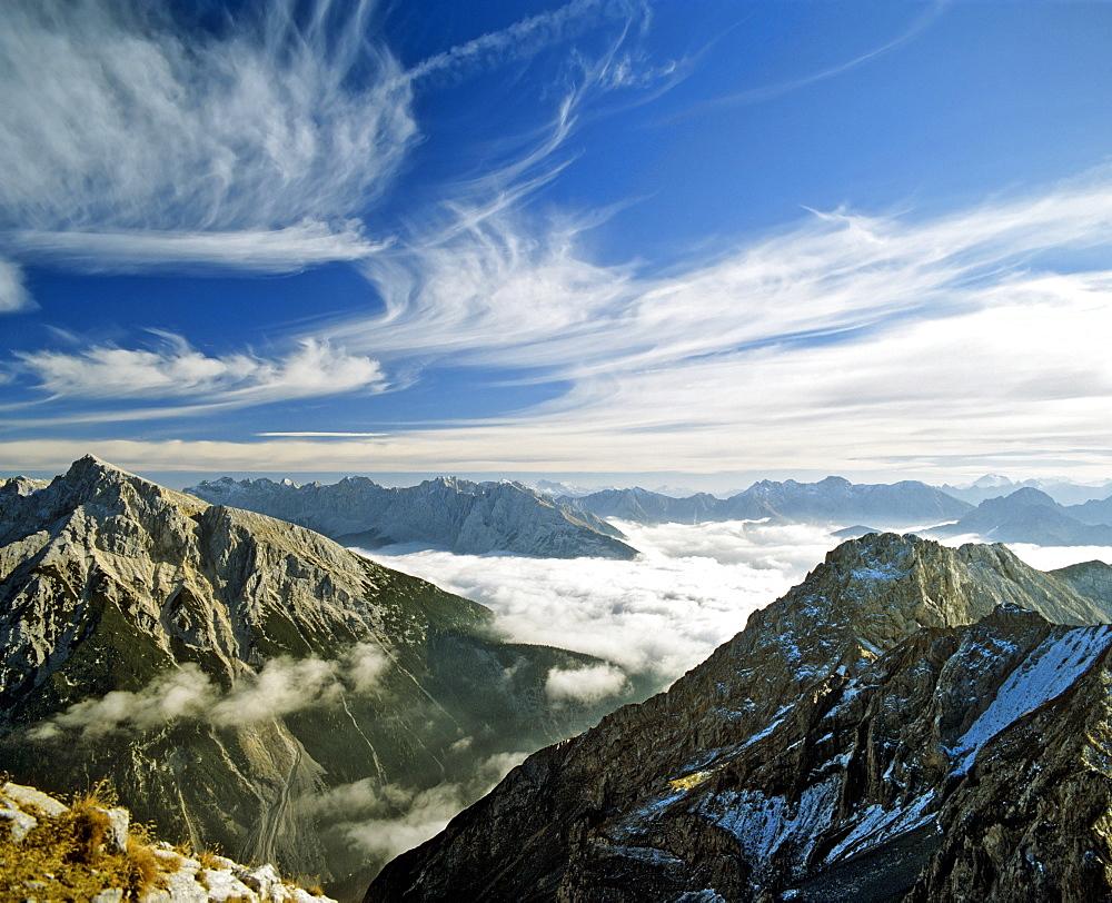 Pleissenspitze peak (left) and Mt. Brunnstein (right), Karwendel Range, Upper Bavaria, Bavaria, Germany, Europe