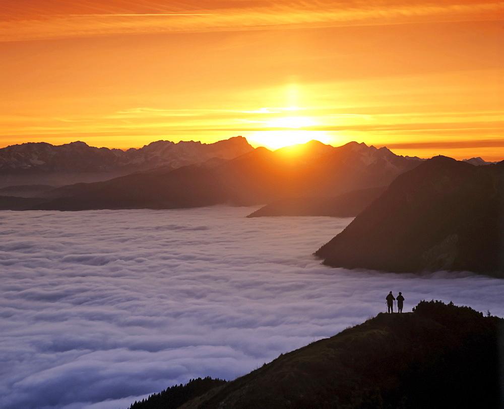 View of the Wetterstein Range at sunset, seen from Mt. Jochberg, Upper Bavaria, Bavaria, Germany, Europe