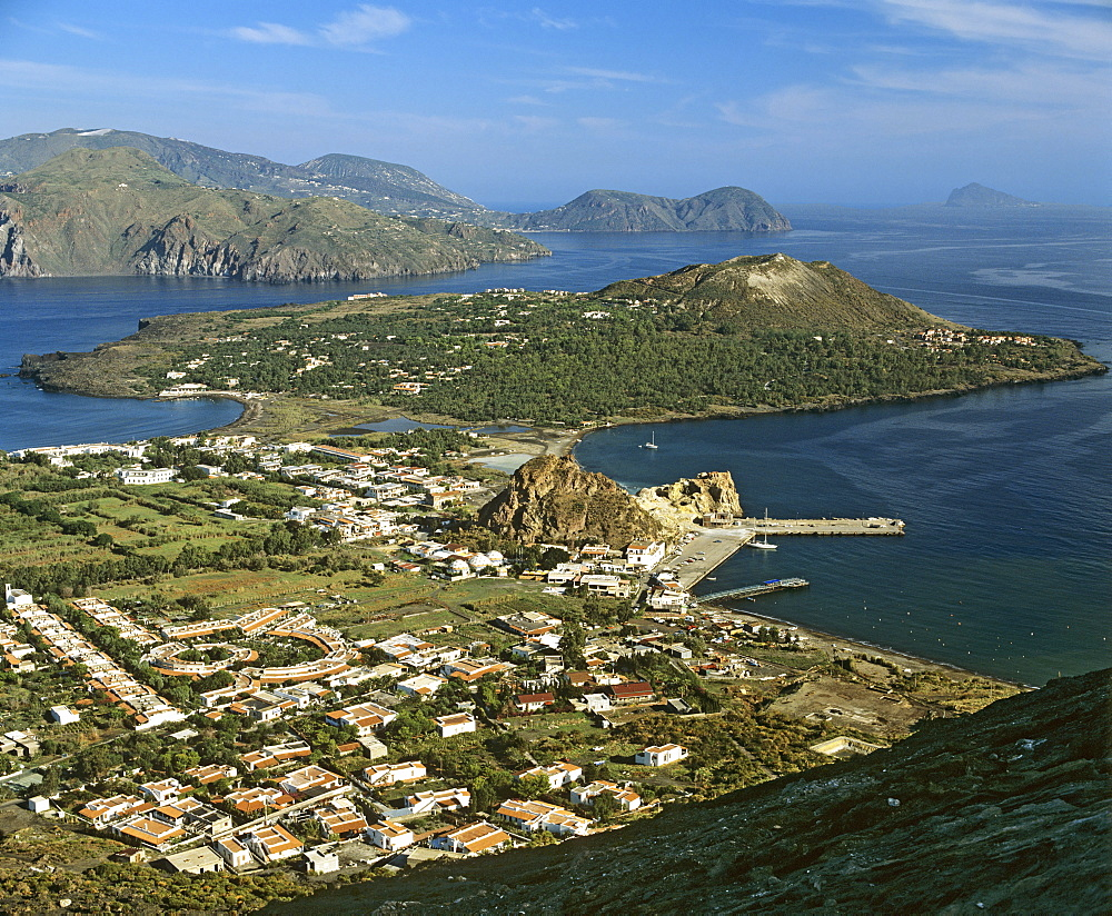 Volcano, Porto di Levante, view of Vulcanello, aerial view, Lipari Island (back), Aeolian Islands, Sicily, Italy