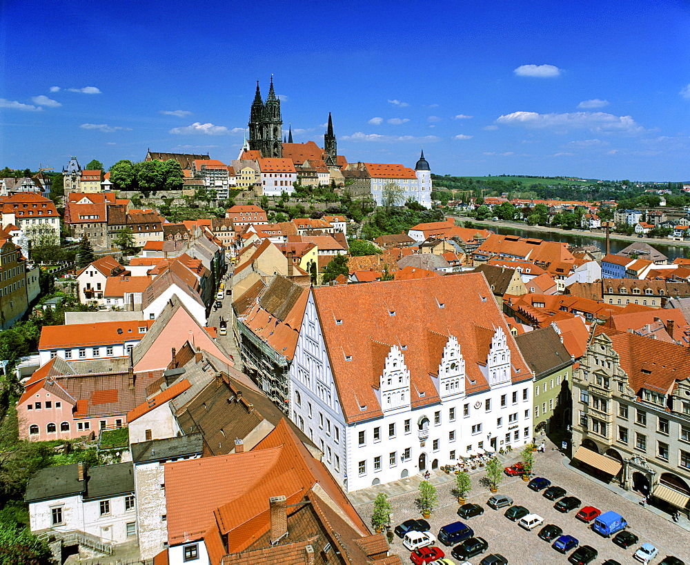 Town Hall, market square and cathedral, panoramic view, Meissen, Saxony, Germany