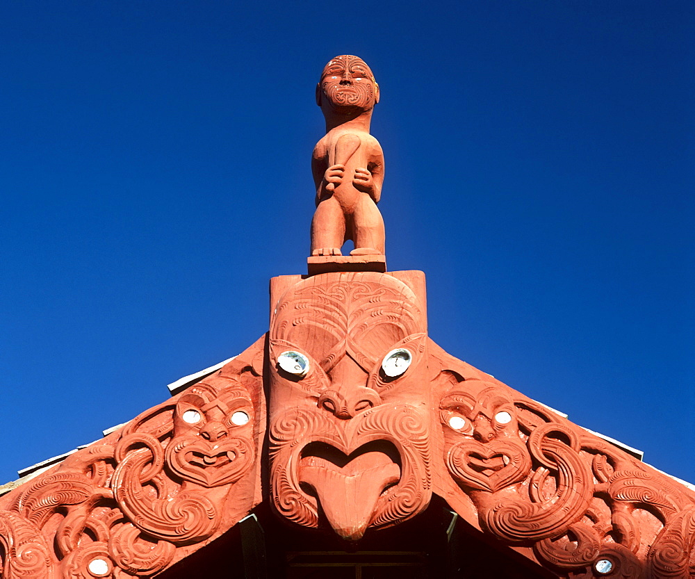 Maori wood carvings, Rotorua, North Island, New Zealand - 832-310221