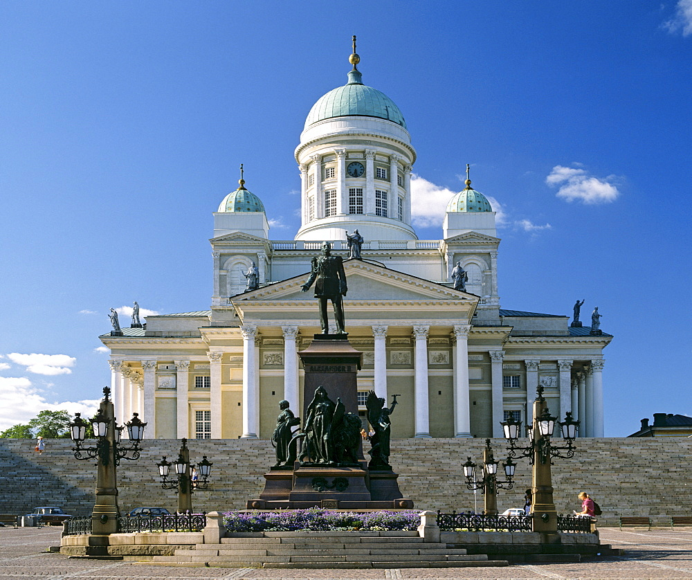 Helsinki Cathedral, Protestant church, memorial statue of Alexander II., Senate Square, Helsinki, Finland