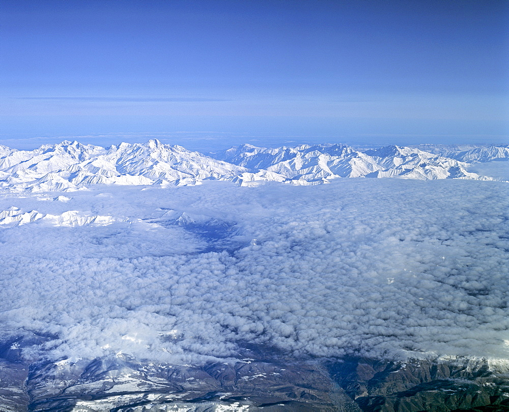 Lesser Caucasus, aerial view from a height of 10 000 m, Azerbaijan, Russia