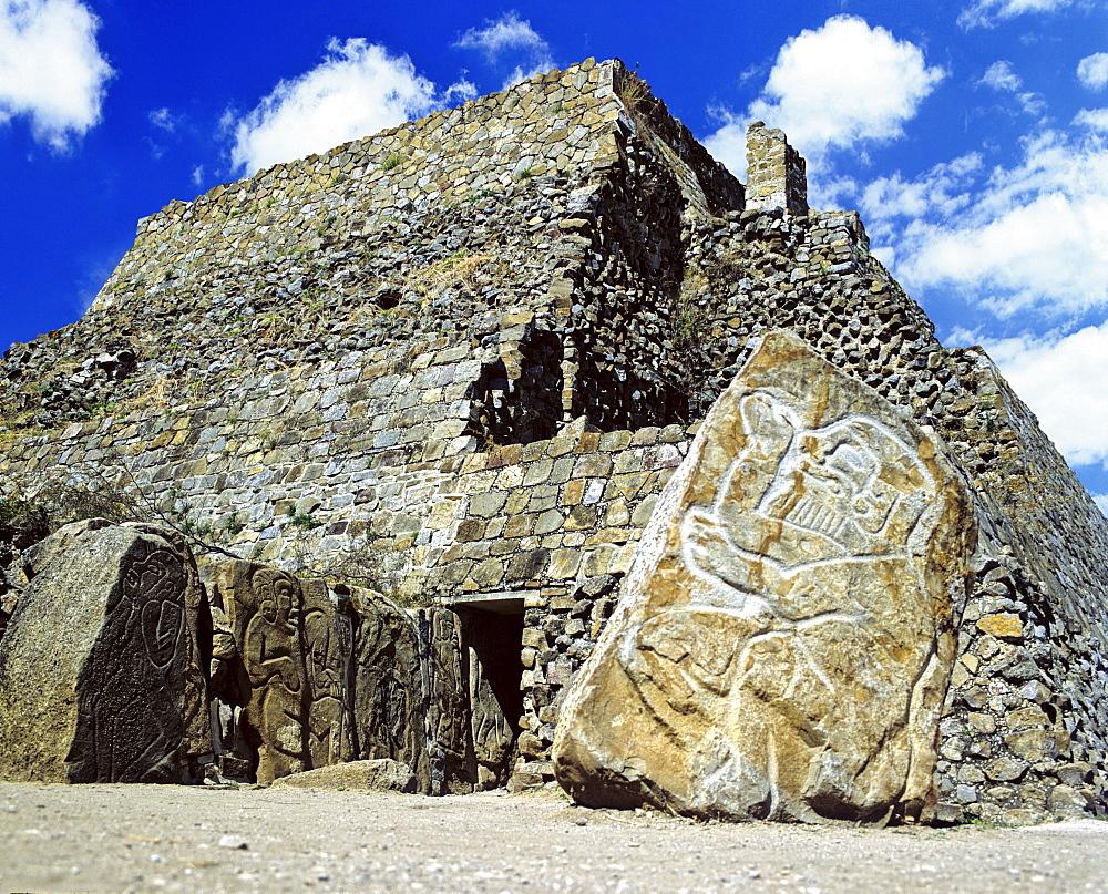 Danzante relief, Monte Alban, UNESCO World Heritage Site, Oaxaca de Juarez, Mexico, Central America