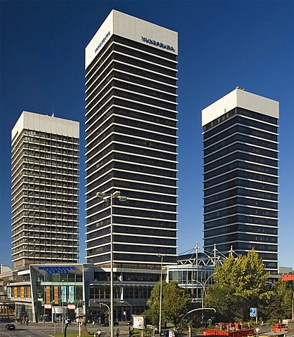 Towers of Mundsburg Center in Hamburg rise into the blue sky, Germany